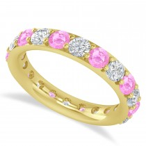 Diamond & Pink Sapphire Eternity Wedding Band 14k Yellow Gold (2.50ct)