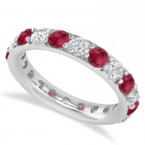 Diamond & Ruby Eternity Wedding Band 14k White Gold (2.50ct)