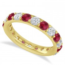 Diamond & Ruby Eternity Wedding Band 14k Yellow Gold (2.50ct)