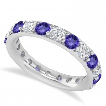 Diamond & Tanzanite Eternity Wedding Band 14k White Gold (2.50ct)