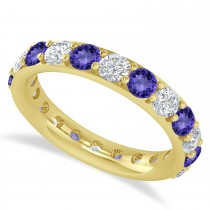 Diamond & Tanzanite Eternity Wedding Band 14k Yellow Gold (2.50ct)