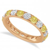 Yellow & White Diamond Eternity Wedding Band 14k Rose Gold (2.50ct)