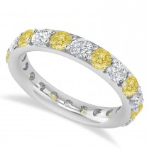 Yellow & White Diamond Eternity Wedding Band 14k White Gold (2.50ct)