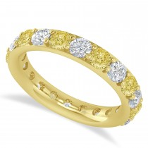 Yellow & White Diamond Eternity Wedding Band 14k Yellow Gold (2.50ct)