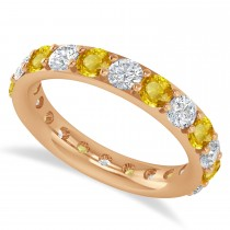 Diamond & Yellow Sapphire Eternity Wedding Band 14k Rose Gold (2.50ct)