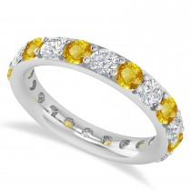 Diamond & Yellow Sapphire Eternity Wedding Band 14k White Gold (2.50ct)