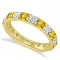 Diamond & Yellow Sapphire Eternity Wedding Band 14k Yellow Gold (2.50ct)