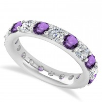 Diamond & Amethyst Eternity Wedding Band 14k White Gold (2.85ct)