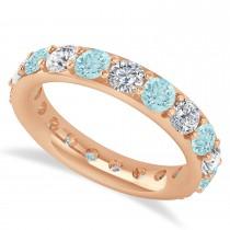 Diamond & Aquamarine Eternity Wedding Band 14k Rose Gold (2.85ct)