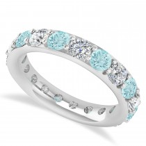 Diamond & Aquamarine Eternity Wedding Band 14k White Gold (2.85ct)