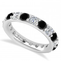 Black & White Diamond Eternity Wedding Band 14k White Gold (2.85ct)