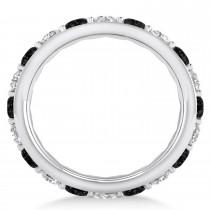 Black & White Diamond Eternity Wedding Band 14k White Gold (2.85ct)