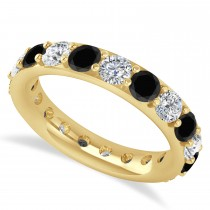 Black & White Diamond Eternity Wedding Band 14k Yellow Gold (2.85ct)