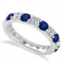 Diamond & Blue Sapphire Eternity Wedding Band 14k White Gold (2.85ct)