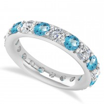 Diamond & Blue Topaz Eternity Wedding Band 14k White Gold (2.85ct)