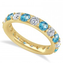 Diamond & Blue Topaz Eternity Wedding Band 14k Yellow Gold (2.85ct)