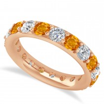 Diamond & Citrine Eternity Wedding Band 14k Rose Gold (2.85ct)