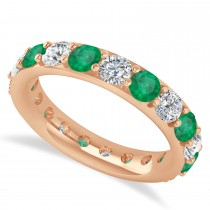 Diamond & Emerald Eternity Wedding Band 14k Rose Gold (2.85ct)