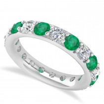 Diamond & Emerald Eternity Wedding Band 14k White Gold (2.85ct)