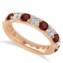 Diamond & Garnet Eternity Wedding Band 14k Rose Gold (2.85ct)
