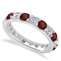 Diamond & Garnet Eternity Wedding Band 14k White Gold (2.85ct)