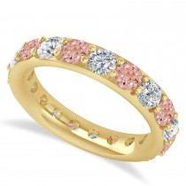 Diamond & Morganite Eternity Wedding Band 14k Yellow Gold (2.85ct)