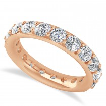 Diamond & Moissanite Eternity Wedding Band 14k Rose Gold (2.85ct)