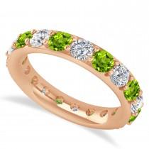 Diamond & Peridot Eternity Wedding Band 14k Rose Gold (2.85ct)