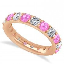 Diamond & Pink Sapphire Eternity Wedding Band 14k Rose Gold (2.85ct)