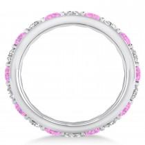Diamond & Pink Sapphire Eternity Wedding Band 14k White Gold (2.85ct)