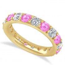 Diamond & Pink Sapphire Eternity Wedding Band 14k Yellow Gold (2.85ct)