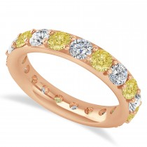 Yellow & White Diamond Eternity Wedding Band 14k Rose Gold (2.85ct)
