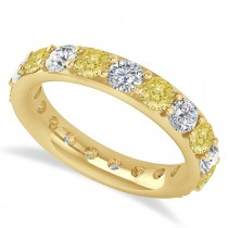 Yellow & White Diamond Eternity Wedding Band 14k Yellow Gold (2.85ct)