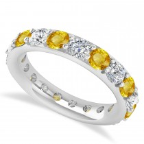 Diamond & Yellow Sapphire Eternity Wedding Band 14k White Gold (2.85ct)