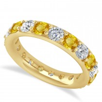 Diamond & Yellow Sapphire Eternity Wedding Band 14k Yellow Gold (2.85ct)