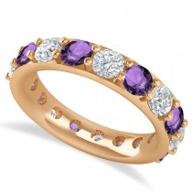 Diamond & Amethyst Eternity Wedding Band 14k Rose Gold (4.20ct)