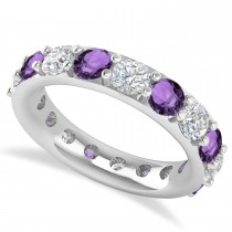 Diamond & Amethyst Eternity Wedding Band 14k White Gold (4.20ct)