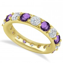Diamond & Amethyst Eternity Wedding Band 14k Yellow Gold (4.20ct)