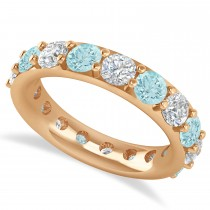 Diamond & Aquamarine Eternity Wedding Band 14k Rose Gold (4.20ct)