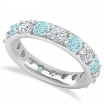 Diamond & Aquamarine Eternity Wedding Band 14k White Gold (4.20ct)