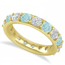 Diamond & Aquamarine Eternity Wedding Band 14k Yellow Gold (4.20ct)