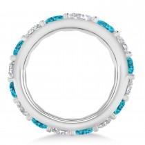 Blue & White Diamond Eternity Wedding Band 14k White Gold (4.20ct)