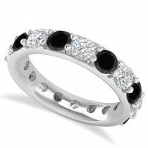Black & White Diamond Eternity Wedding Band 14k White Gold (4.20ct)