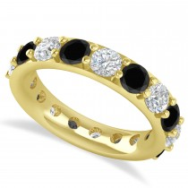 Black & White Diamond Eternity Wedding Band 14k Yellow Gold (4.20ct)