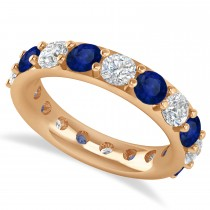 Diamond & Blue Sapphire Eternity Wedding Band 14k Rose Gold (4.20ct)
