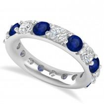 Diamond & Blue Sapphire Eternity Wedding Band 14k White Gold (4.20ct)