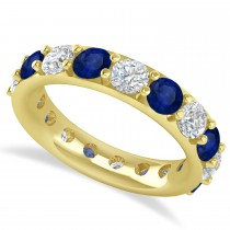 Diamond & Blue Sapphire Eternity Wedding Band 14k Yellow Gold (4.20ct)