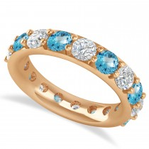 Diamond & Blue Topaz Eternity Wedding Band 14k Rose Gold (4.20ct)