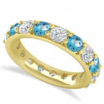 Diamond & Blue Topaz Eternity Wedding Band 14k Yellow Gold (4.20ct)
