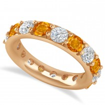 Diamond & Citrine Eternity Wedding Band 14k Rose Gold (4.20ct)